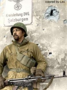 American Sergeant Oakley M. Ruth of Punxsutawney, Pennsylvania poses in Salzburgen holding a captured Sturmgewehr 1944 Colorized Photos, American Soldiers, Gi Joe, Military History, Warfare, World War Ii, Wwii, Punxsutawney Pa, World History