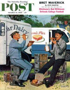 Milkman Meets Pieman by Stevan Dohanos (October 11, 1958)