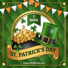 St patrick's day background with coins and hat in realistic style Free Vector