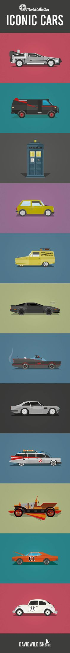 The ultimate collection of iconic #cars from both TV and the movies lovingly illustrated. Can name them all? Hit the pic to see...