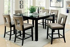 Host a contemporary dinner party with this Furniture of America Vanderbilte Glass Inlay Counter Height Dining Set - Black . Glass Round Dining Table, Dining Room Sets, Dining Table In Kitchen, Dining Table Chairs, Side Chairs, Dining Area, Round Glass, Counter Height Table Sets, Pub Table Sets