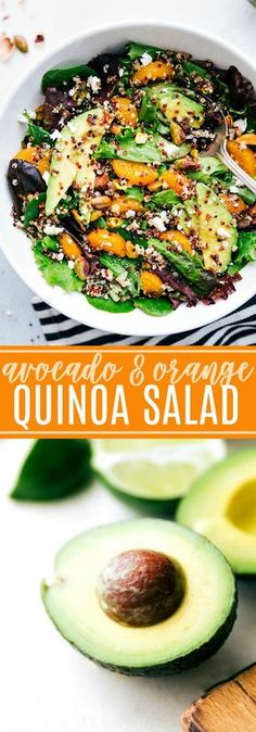 Delicious powerhouse avocado quinoa salad with the best healthy dressing, via chelseasmessyapron.com