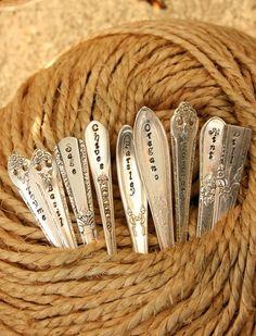 Silverware Garden Stakes Herbs Set of 9 vintage silver plated flatware seedling stakes - nice