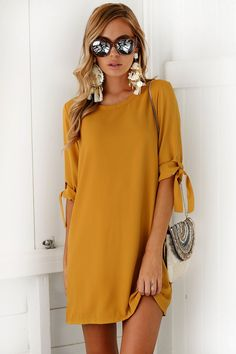 - Available in Mustard, Black, Gray, Green, Khaki, Salmon and Violet - O-neck - A-line - Above knee, mini - Polyester, lanon, and spandex