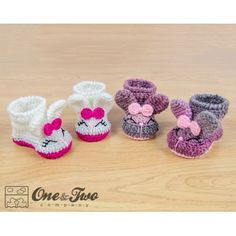 Olivia the Bunny Booties - Baby Sizes - Crochet Pattern by One and Two Company