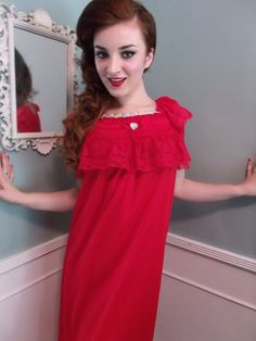 Vintage 60's Red Nightgown Mad Men 50's Pin by sailorpinkvintage, $42.00