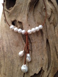Classic Pearl and Leather Necklace w/ Triple Fireball Pearl Drops – Christian Oliver Pearls Old Jewelry, Simple Jewelry, Pearl Jewelry, Jewelry Crafts, Beaded Jewelry, Jewelery, Pearl Necklace, Handmade Jewelry, Jewelry Making