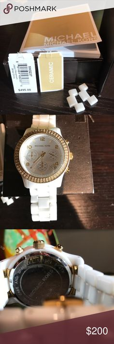 Michael Kors - White Ceramic Watch Gently used Ceramic Watch with Embellished Bezel. Battery needed Michael Kors Accessories Watches
