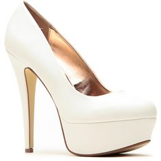 CiCiHot Anne Michelle White Almond Toe Pumps ($30) ❤ liked on Polyvore featuring shoes, pumps, heels, white leather pumps, transparent pumps, leather pumps, leather shoes and heels & pumps
