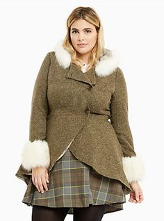 Outlander Claire Faux Fur Trim Riding Coat, BEECH