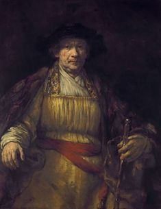 Rembrandt van Rijn, Self portrait, New York City (United States), The Frick Collection. Rembrandt is dressed in very rich clothes, showing his wealth as a painter. As he got older Rembrandt used looser and looser brushstrokes Rembrandt Self Portrait, Rembrandt Paintings, Rembrandt Art, Art Paintings, Pop Art, Art Occidental, Dutch Golden Age, Hieronymus Bosch, Portrait Lighting