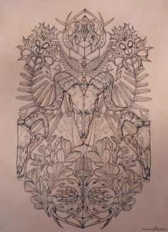 Tattooed Leather Art 'Bare Bones' Ram, botanicals by PUNCTURED-ARTEFACT This slightly altered with flowers: poppies, lilies, with maybe some lace in the background Backpiece Tattoo, Ram Tattoo, Animal Skull Tattoos, Animal Skulls, Tattoo Sketches, Tattoo Drawings, Illustrations, Illustration Art, Body Bones