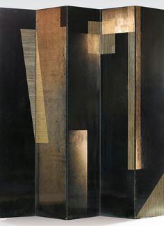 "scandinaviancollectors: ""JEAN DUNAND & ROBERT MALLET-STEVENS, Contraste de Formes, folding double door, c.1935-1930. Material lacquered wood and brass. / Sotheby´s """