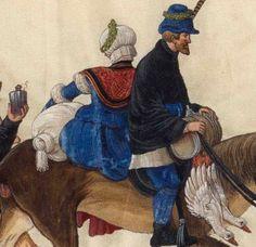 Feelin' blue.     c. 1501 Hans Burckmaier - Triumph of Maximilian I, copy that is in the Biblioteca Nacional de Espana in Madrid. Second file link PAGE 51 detail - gollar
