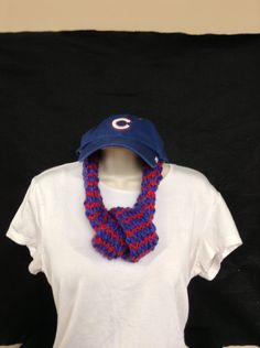 Hand made loom knitted red/blue or cubs adjustable linfinity scarf by knittedbydesign on Etsy