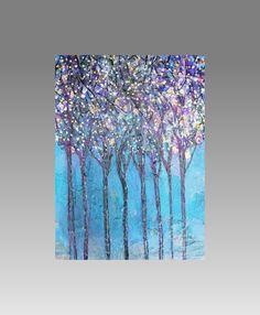 Mixed Media Blue Art  Fireflies Tree Landscape by sherischart