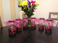 First Birthday Centerpieces pink and purple M's would be cute