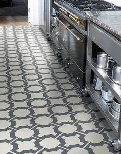 Super stylish kitchen flooring - parquet design by Neisha Crosland. Durable and easy to clean, its ideal for one of the most demanding rooms in the home.