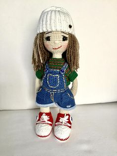 Crochet doll in sneakers and jumpsuit Knitted doll Handmade