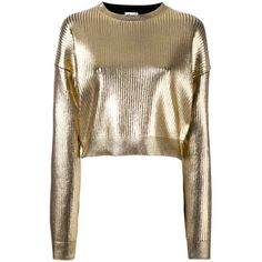 Saint Laurent coated metallic cropped jumper (€1.120) ❤ liked on Polyvore featuring tops, sweaters, grey, round neck sweater, grey jumper, metallic top, grey sweater and cropped sweater