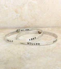 Mother's Bracelet with Names and Dates by www.nelleandlizzy.com