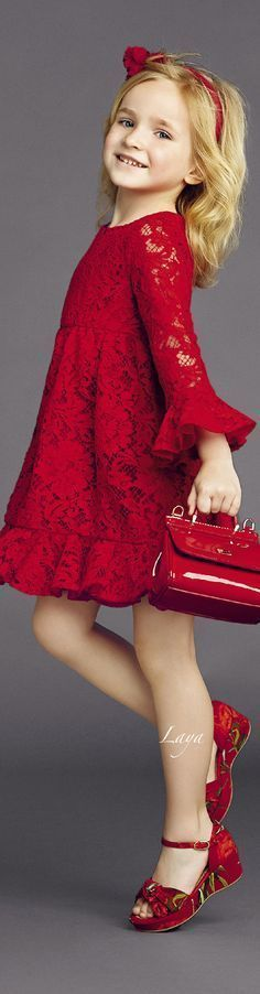 -> Such a cute little dress! I really like the ruffled sleeves. The red lace is really pretty.