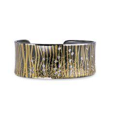 Atelier Zobel Diamond Oxidized Silver Gold Narrow Cuff Bracelet