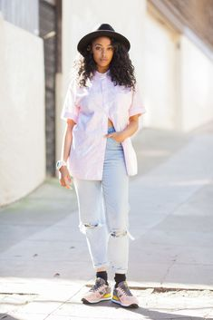 14 Inspiring Spring Looks From The Streets Of San Francisco #refinery29 http://www.refinery29.com/san-francisco-spring-2015-street-style-pictures#slide-4 Rewina Beshue masters the art of matching in an American Apparel top, Levi's jeans, and Saucony shoes.