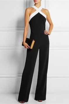 Sexy V-Neck Sleeveless Black and White Spliced Jumpsuit For Women