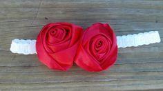 Red Satin Roses on a streatch by Prettyinpinkbiz on Etsy, $6.50