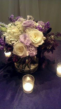 Purple reception wedding flowers, wedding decor, wedding flower centerpiece…