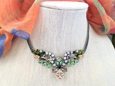 Vegas, Swarovski Crystal Choker, Necklace, Adjustable, Antique Silver, Dress or Casual,Statement piece, Show Stopper, DKSJewelrydesigns