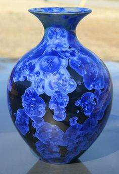 STUDIO CRYSTALLINE VASE-Signed-Midnight Blue-SEAGROVE