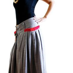 Maxi Skirts – Red-pocket cotton linen Long Skirt in grey Q1001 – a unique product by idea2lifestyle on DaWanda