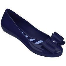 23734c8725 Ladies Zaxy Pop Bow 2 Navy Blue Flat Jelly Pumps Ballerina Shoes Sizes UK 3  - 8