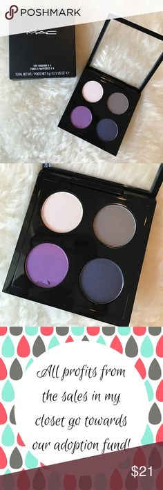 Mac Eyeshadow x4 Hold My Gaze palette Shades of purple, gray, and navy. The bright purple has a small chip, but the palette had never been used! Includes original box ********************My husband and I are in the process of adopting! Every dollar from the sales in my closet are currently being contributed to our adoption fund!********************* MAC Cosmetics Makeup Eyeshadow