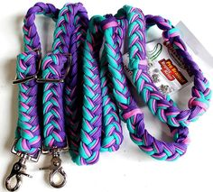 Roping Knotted Horse Tack Western Barrel Reins Nylon Braided Turquoise 607212 #ProRider #BarrelReins