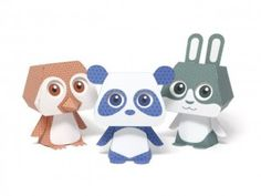 Model Dolly rabbit Penguin and Panda with Japan (Quorory Paper Toys Papercraft Model).
