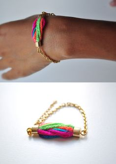 Colorful wool bracelet. . #jewelry #bracelet #diy