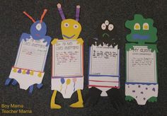 Alien's Love Underpants Craft and Writing Activity with FREE Templates Alien Crafts, Space Aliens, Free Stencils, Kinds Of Fabric, Space Theme, Writing Paper, Writing Activities, Paper Background, First Grade