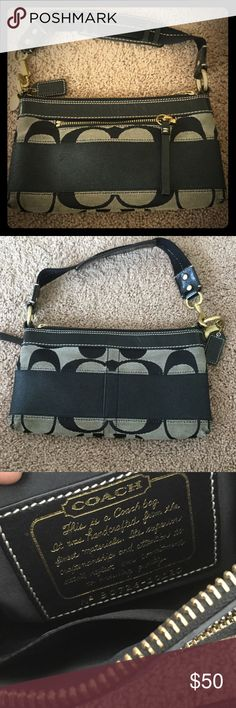 Final Mark down! Authentic Small Coach Purse Authentic EUC Small Black Coach purse with gold detail. Has zipper on the outside. See dimensions in photo. Perfect for a night out. Coach Bags Shoulder Bags