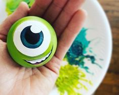 Handpainted Mike Wazowski Personalized Pixar Decor, Disney Christmas Ornament, Monsters Inc Birthday Party Gift, Mike and Sully, Kids Room Rock Painting Patterns, Rock Painting Ideas Easy, Rock Painting Designs, Pebble Painting, Pebble Art, Stone Painting, Painted Rocks Craft, Hand Painted Rocks, Mike And Sully