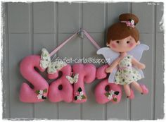 Felt Fairy Name Banner with 4 letters  baby's room  por myfelt