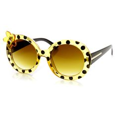 - Description - Measurements - Shipping - Super cute oversized butterfly flower, lady bug print round sunglasses Made with a plastic based frame, metal hinges and UV400 protected clear polycarbonate l