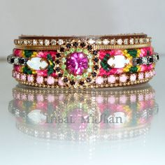 Boho Chic Friendship Cuff,  Colorfull Statement Bracelet, pink Swarovski Rhinestone  with Hot Pink and Green Crystals, Maharaja inspired. via Etsy