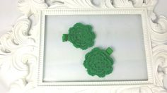 Hey, I found this really awesome Etsy listing at https://www.etsy.com/listing/200856313/green-crochet-flower-hair-clips-set-of
