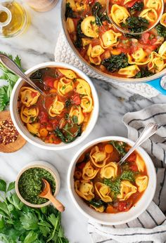 Warm up with this cozy tortellini soup recipe! Healthy and flavorful, it's packed with fresh veggies and pasta. A perfect quick and easy dinner for a winter weeknight! | Love and Lemons #soup #pasta #tortellini #dinnerideas Veggie Recipes, Appetizer Recipes, Soup Recipes, Salad Recipes, Vegetarian Recipes, Dinner Recipes, Delicious Recipes, Vegan Tortellini, Tortellini Soup
