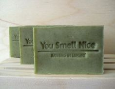 Get Lucky Man Soap - manly woodland ish scent  - gift for men current batch is sage-y lighter green than pic. $5.75, via Etsy.