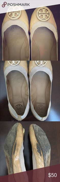 Tory Burch Caroline Ballet Flats Well-loved TB Caroline's in nude with gold accents. These flats are super comfy! They've been loved for a while and now it's time to pass them on to someone else. Would be a great first TB for someone who loves the brand but not the price tag. 😉 Tory Burch Shoes Flats & Loafers