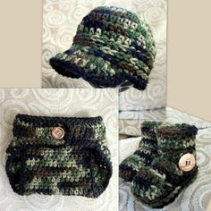 Camouflage Camo Baby Hat Bootie and diaper cover by vbirschbach, $47.00